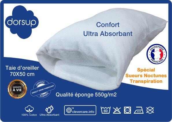 Pour lutter contre les Sueurs Nocturnes, la société DORSUP vous donne cette possibilité avec cette taie d'oreiller spéciale pour la Transpiration la nuit.